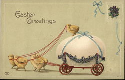 Easter Greetings - Chicks Pulling Cart Carrying Large Egg