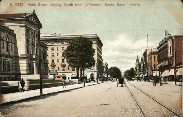 Main Street Looking North from Jefferson South Bend Indiana