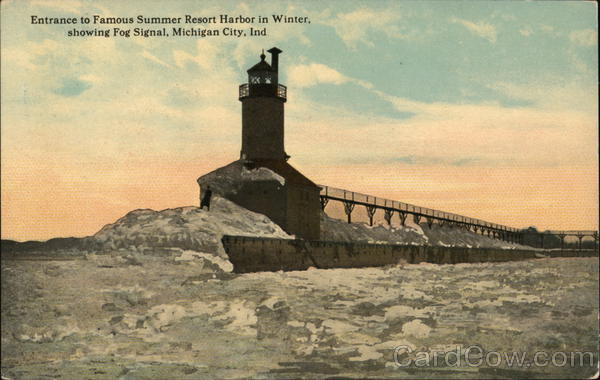 Entrance to Famous Summer Resort Harbor in Winter Michigan City Indiana
