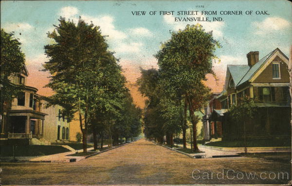 View of First Street from Corner of Oak Evansville Indiana
