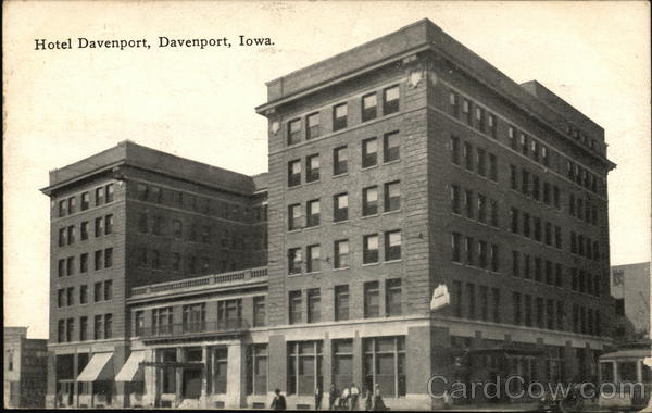 hotel davenport iowa postcard. Black Bedroom Furniture Sets. Home Design Ideas