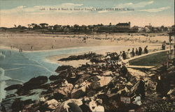 Rocks & Beach in front of Young's Hotel Postcard