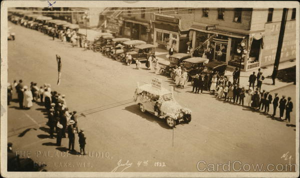 July 4th 1922 Parade on Main Street Rice Lake Wisconsin