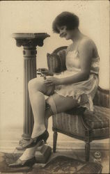Woman in Lingerie Posing on Chair
