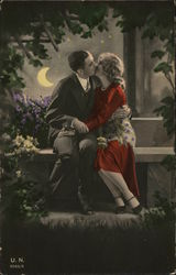 Lovers Embracing on Bench, Moonlight
