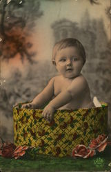 Chubby Baby in Hat Box with Flowers