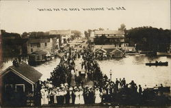 Waiting For the Races - Flooded Town Postcard