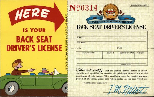 Back Seat Drivers License Comic, Funny