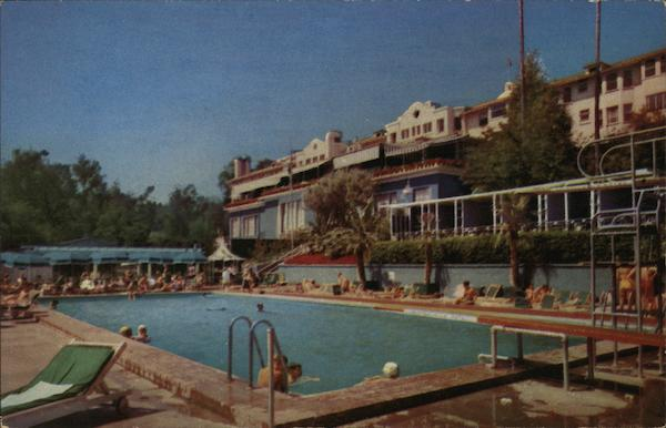 View of Beverly Hills Hotel Swimming Pool California