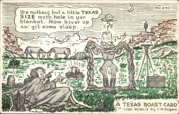 A Texas Boast Card by C.M Rogers Comic, Funny
