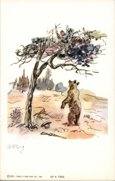 Person Trapped in Tree by Bear Charles M. Russell Comic, Funny