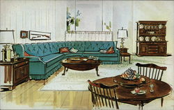 Sketch of Mid-Century Living Room