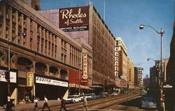 Seattle's Busy Second Avenue Looking North Postcard