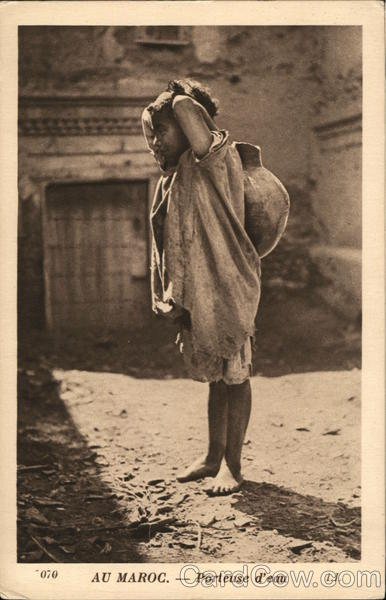 Girl With Water Jug Morocco Africa