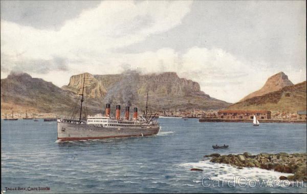 View of Table Bay With Large Ship Cape Town South Africa