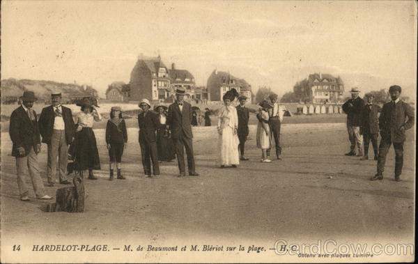 Beaumont and Bleriot at the Beach - Aviation Pioneers Hardelot-Plage France
