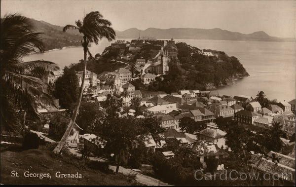 Aerial view of City ST. Georges Grenada Caribbean Islands