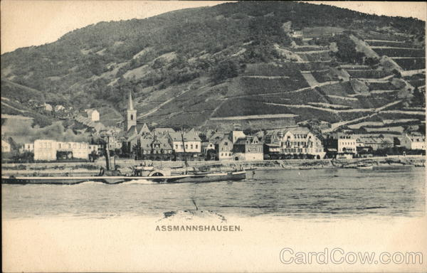 View of Town and Rhine RIver Assmannshausen Germany