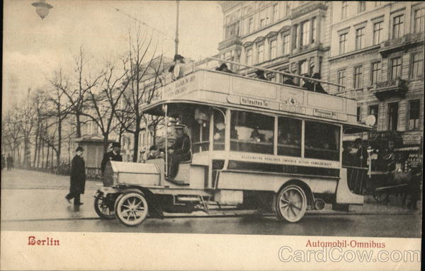 An Omnibus Takes On Passengers Berlin Germany
