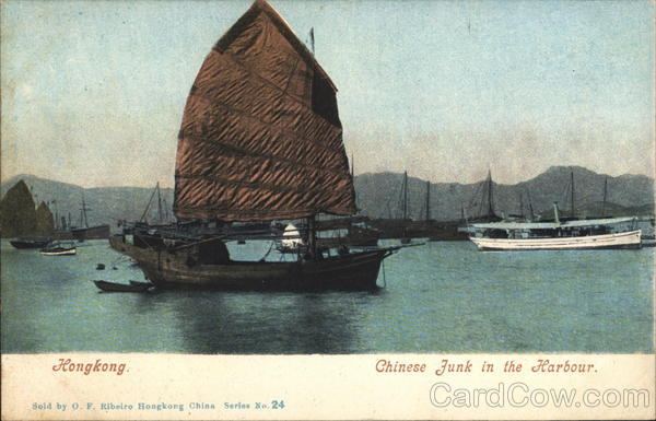 Chinese Junk in the Harbour Hong Kong China