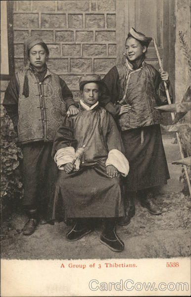 A Group of 3 Thibetians Tibet China