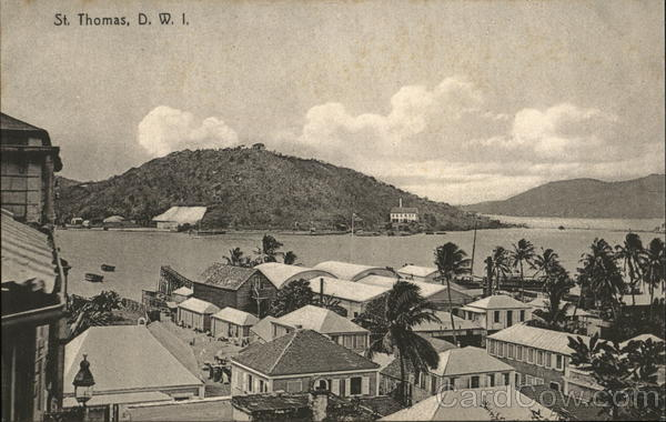 VIew of Town St. Thomas Virgin Islands Caribbean Islands