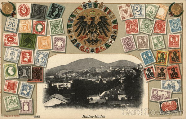 View of Town and Stamps Baden-Baden Germany