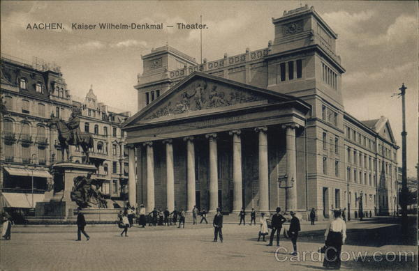 Kaiser Wilhelm Statue and Theater Aachen Germany