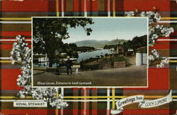 Greetings from Loch Lomond, Royal Stewart Tartan, River Leven