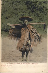 Chinese Farmer in Coat of Reeds