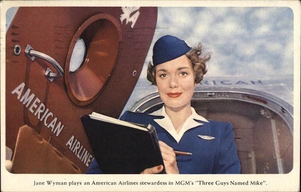 Jane Wyman in Three Guys Named Mike Actresses Airline Advertising