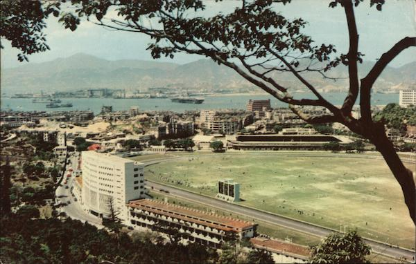 View of the Race Course and Jocky Club with Totalizator Hong Kong