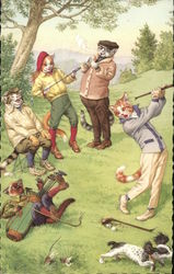 Comic Illustration - Cats in Clothing Playing Golf