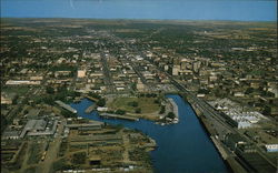 Aerial View of Stockton Yacht Harbor and the City