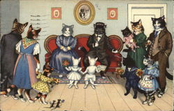 Comic Illustration of Cats Getting Married