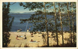 A Beach Scene at Glenbrook, Lake Tahoe Postcard