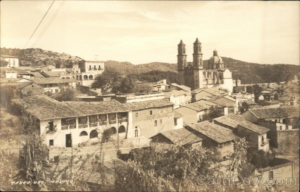 View of Town and Santa Prisca Church Taxco Mexico