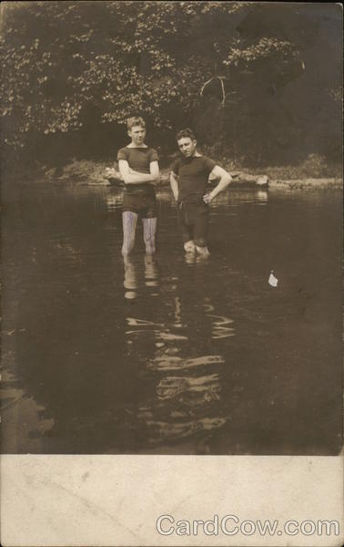 Two Boys Swimming in Lake 1910 Men