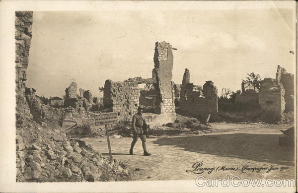 Bombed Town Prunay France World War I
