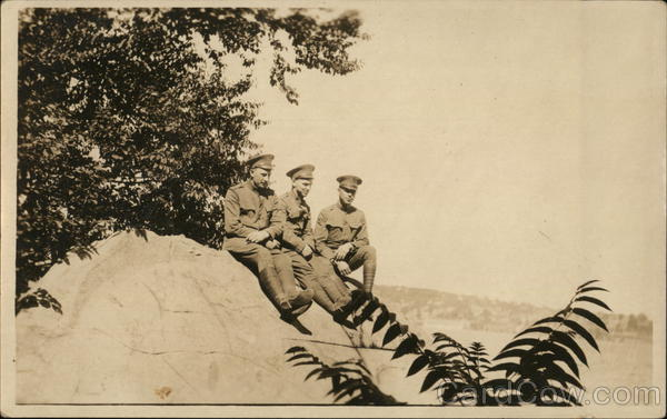 Three Soldiers Posing on Rock Military