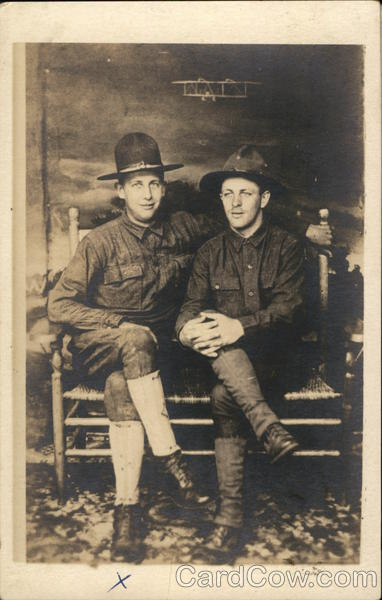 Portrait of Two Soldiers on Bench World War I