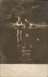 Two Boys Swimming in Lake 1910