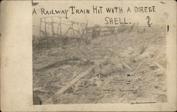 A Railway Train Hit With a Direct Shell