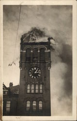 College Clocktower on Fire