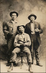 Three drinking men