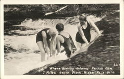 Three Women Bathing In Falls