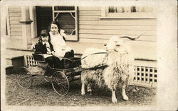 Children in Goat Pulled Cart Postcard