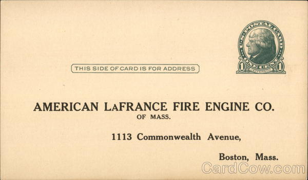 American LaFrance Fire Engine Co. of Mass. Boston Massachusetts