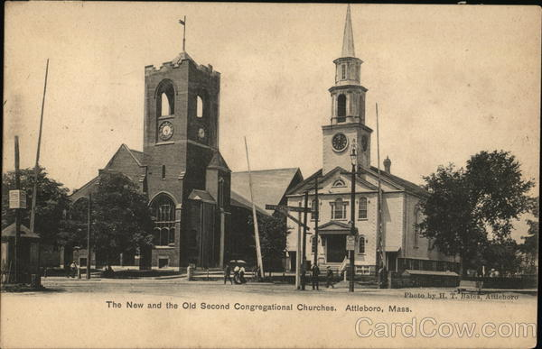 The New and the Old Second Congregational Churches Attleboro Massachusetts