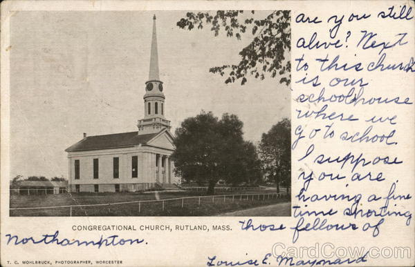 Congregational Church Rutland Massachusetts T.C.Wohlbruck